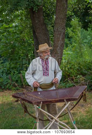Grandpa In Ukrainian Costume Playing The Dulcimer