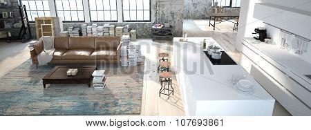 The modern kitchen. 3d rendering
