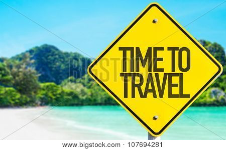 Time To Travel sign with beach background