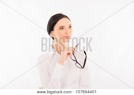 Elegant Business Woman With Glasses Lost In Thought