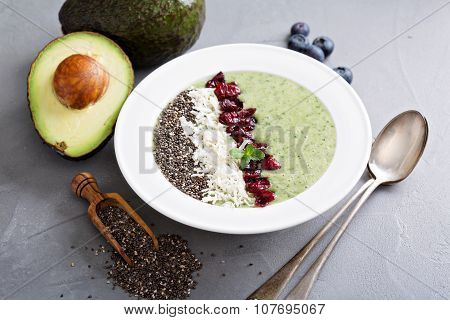 Green smoothie bowl with chia and kale