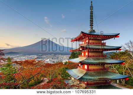 Mt. Fuji, Japan from Chureito Pagoda.