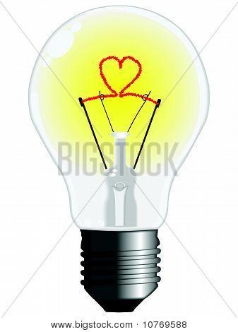 light bulb with heart