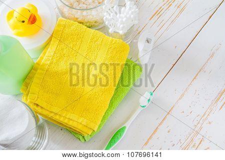 Hygiene essentials on white background