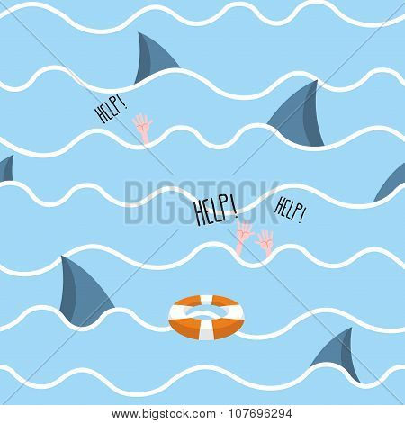 Shark In  Sea Seamless Pattern. Man Drowns. Scenery Screams Help. Background Of  Fin Of Marine Preda