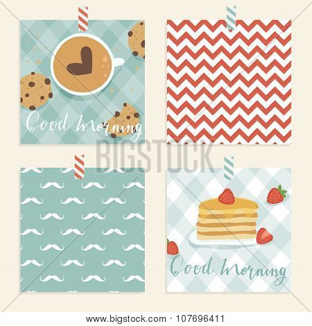 Cute and tasty bright good morning card.