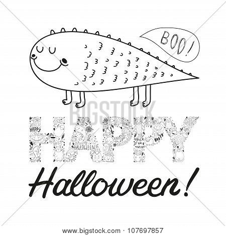 Vector Halloween Postcard With A Cute Green Monster