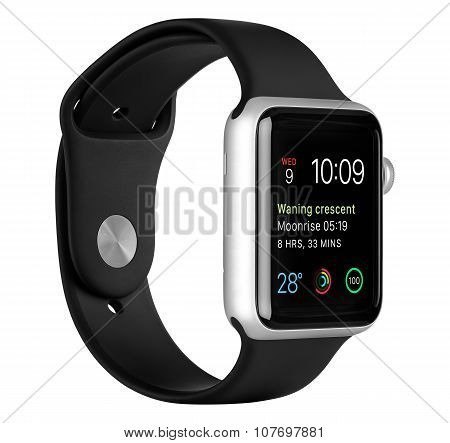 Apple Watch Sport 42Mm Silver Aluminum Case With Black Sport Band Left Side View