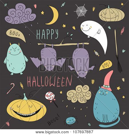 Vector Halloween Hand Drawn Set