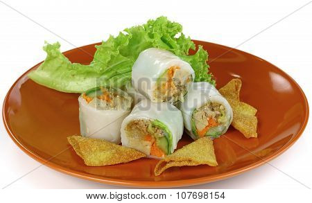 Spring Rolls And Salad On Plate
