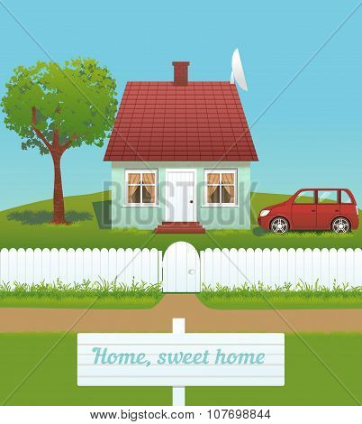 Vector Illustration Of Cute House