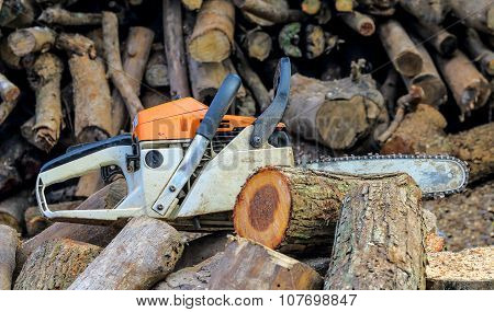 Chainsaw And Wood
