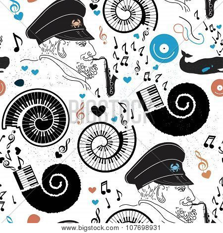 Pattern sea, sea captain and music.