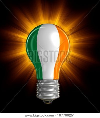 Light bulb with Irish flag (clipping path included)