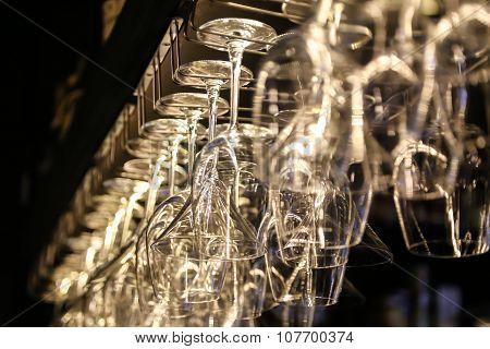 Wine Glasses Hanging Upside-Down