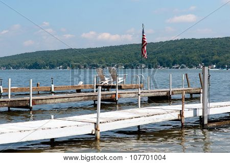 Docks on a lake