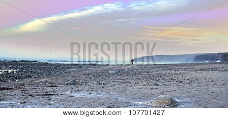 Man Walking At Rocky Beach