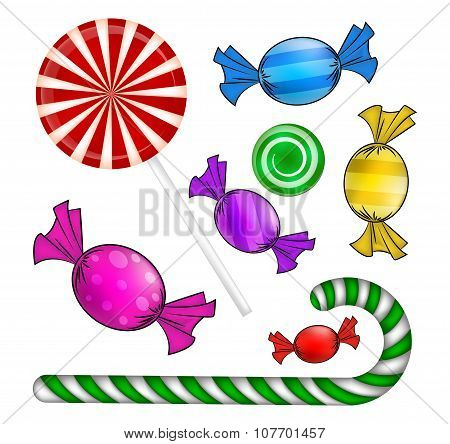 Christmas Candy Set. Colorful Wrapped Sweet, Lollipop, Cane. Vector Illustration Isolated On A White