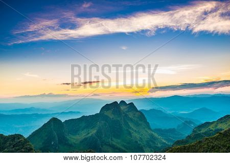 Colorful Summer Landscape Sub Alpine During Sunset