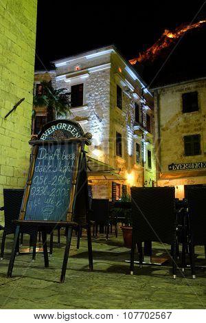Kotor, Montenegro, November, 7, 2015: Street cafe in Old Kotor, Montenegro in the night