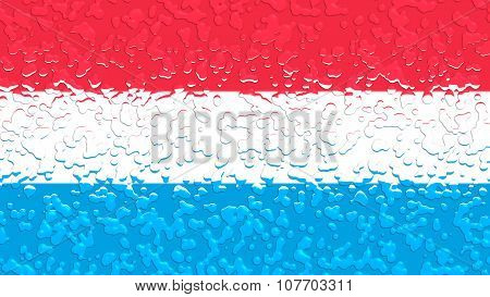 Flag of Luxembourg with water drops