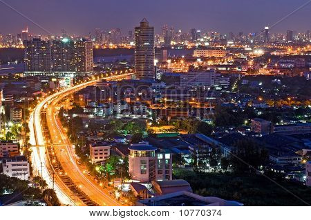 Bangkok Freeway to City Top View at dusk in bangkok Thailand