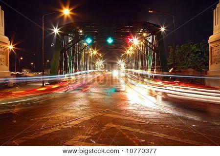 Light Trail At Rama 1 Steel Bridge At Bangkok Harbor