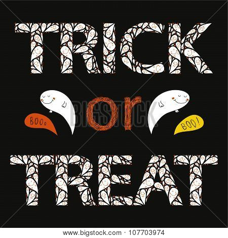 trick or treat happy hand drawn halloween postcard with spooks in color