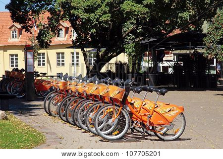 Bicycle In Point Of Automatic Bicycle Rental Cyclocity In Old Town, Vilnius, Lithuania.