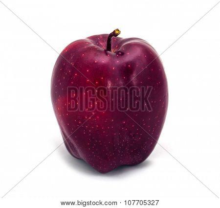 Single dark red apple on a white background