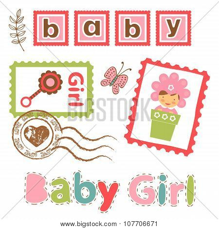 Colorful collection of baby girl announcement postal stamps