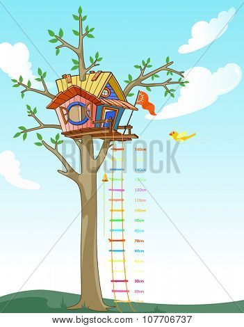 Tree House kids height scale illustration