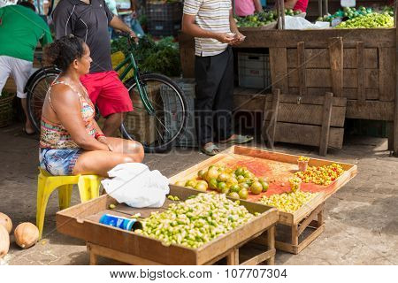 BELEM DO PARA, BRAZIL - CIRCA NOVEMBER 2015: Fruits and vegetables at street market in Belem do Para, Brazil