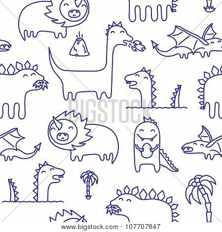 Dino ink hand drawn doodles seamless vector pattern