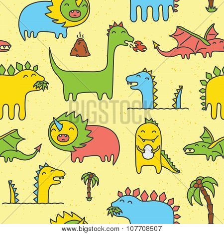 Dino hand drawn seamless vector pattern yellow