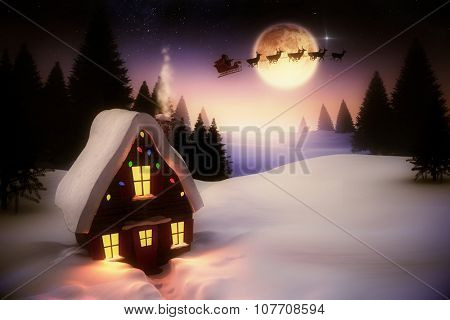 Digitally generated Christmas house under full moon