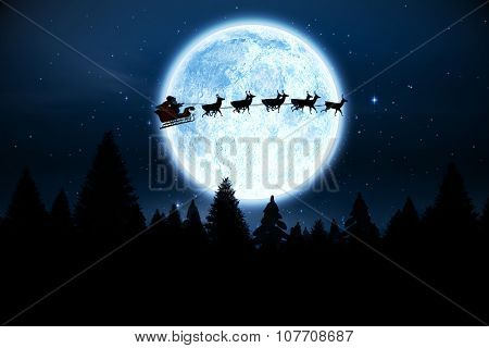 Digitally generated Santa flying over night sky