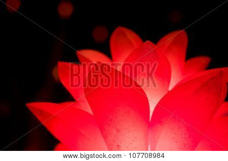 Red flower shaped lantern isolated on black