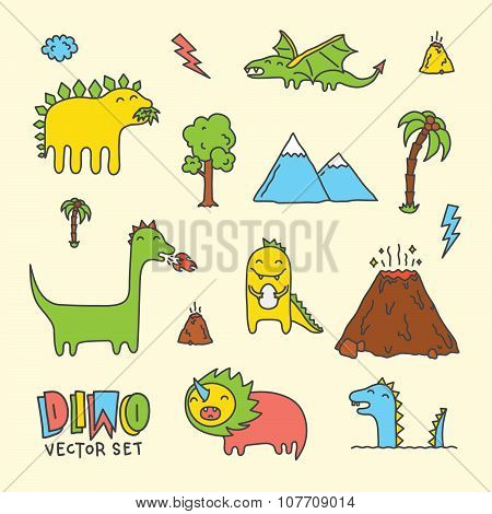 Dino hand drawn doodle cartoon vector set