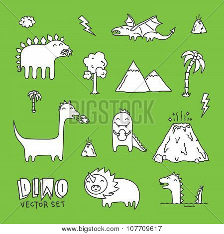 Dino hand drawn cartoon vector set white