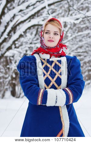 Russian Beauty Woman In Traditional Clothes
