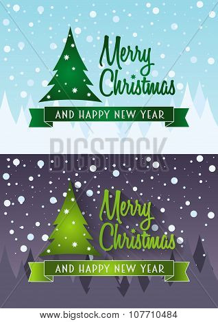 Vector Cristmas Card Set. Design Concepts With Christmas Tree