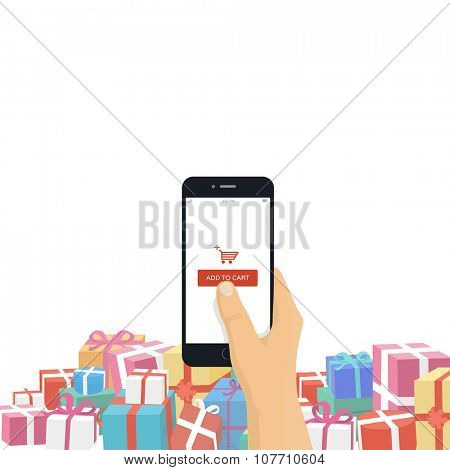 Christmas gifts online shopping concept. Hand holding mobile phone with add to cart button isolated on white background.