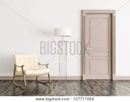 Interior With Door And Rocking Chair 3D Rendering