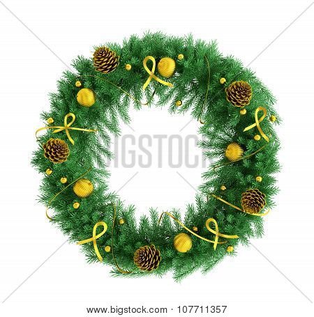Christmas Wreath Isolated Over White 3D Rendering