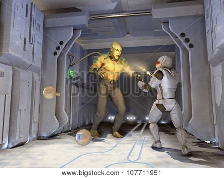 Futuristic soldier shooting a monster
