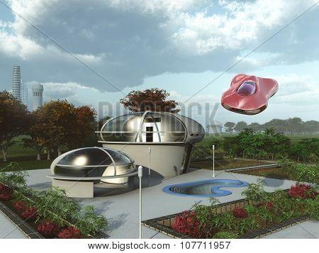 Futuristic suburban home