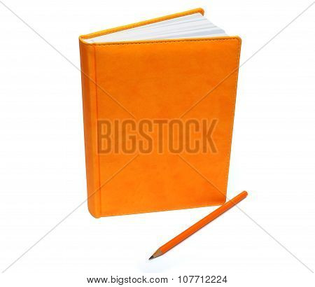 Orange Notebook And Pencil