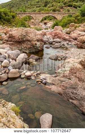 Rocks, River & Pont Du Fango At Manso In Corsica