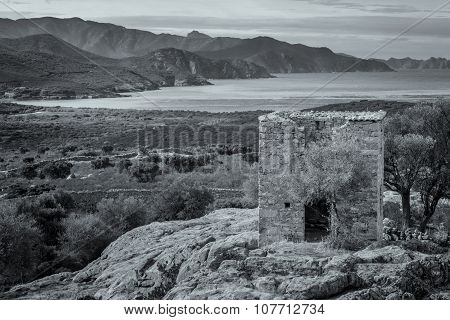 View Of Derelict Building And Coast Near Galeria In Corsica